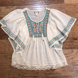 Flying tomato boho embroidered blouse